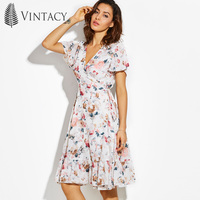 Vintacy Floral Summer Dress Women White Print Lace Up Wrap Ruffles Tunic A Line Chiffon Dresses