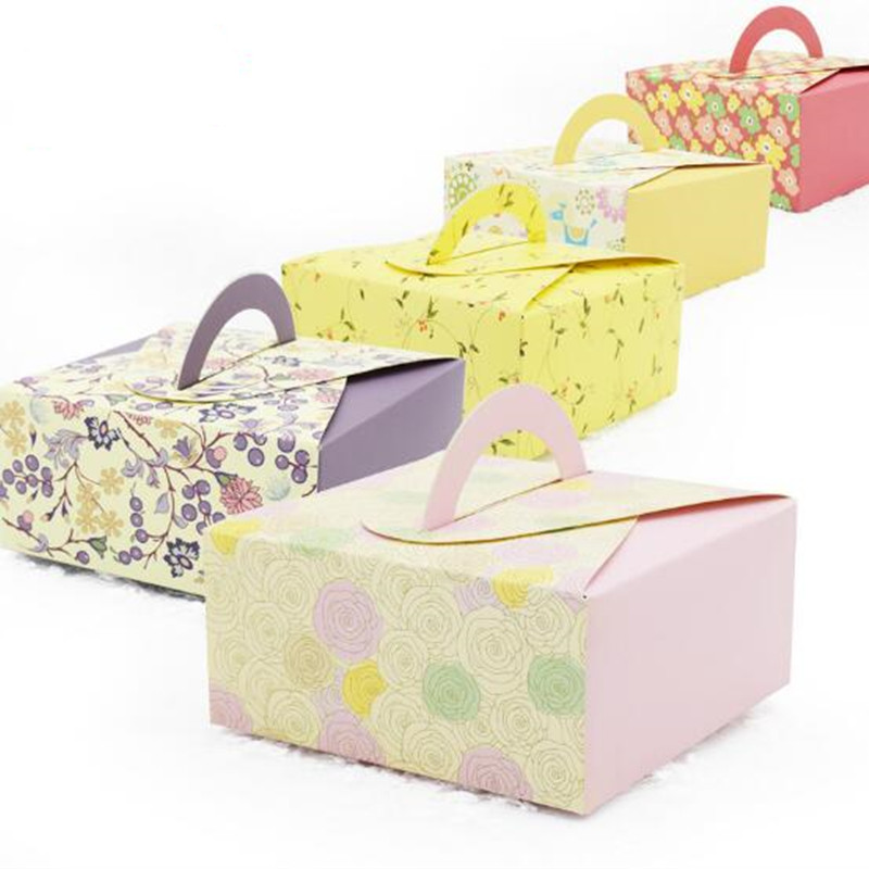 10pcs/lot 14x14x6.5cm Retro Mini Kraft Paper Box DIY Wedding Gift Favor Boxes,Party Candy Box Mini Single Cake Box Packaging