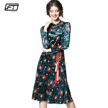 Fitaylor 2018 Spring Print Floral Vintage Long Dress Women Clothing Fashion Casual Evening Party Dresses Full Sleeve Vestidos