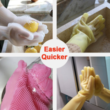 Magic Silicone Rubber Dish Washing Gloves Eco-Friendly Scrubber Cleaning Silicon Dish Scrubber Gloves