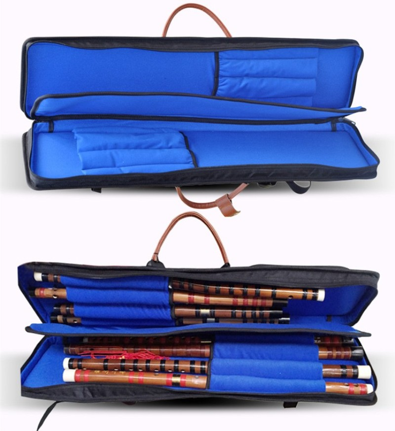 ФОТО New 75cm Top quality professional Chinese bamboo Dizi flute case soft gig bag waterproof cover padded backpack can hold 8 flutes