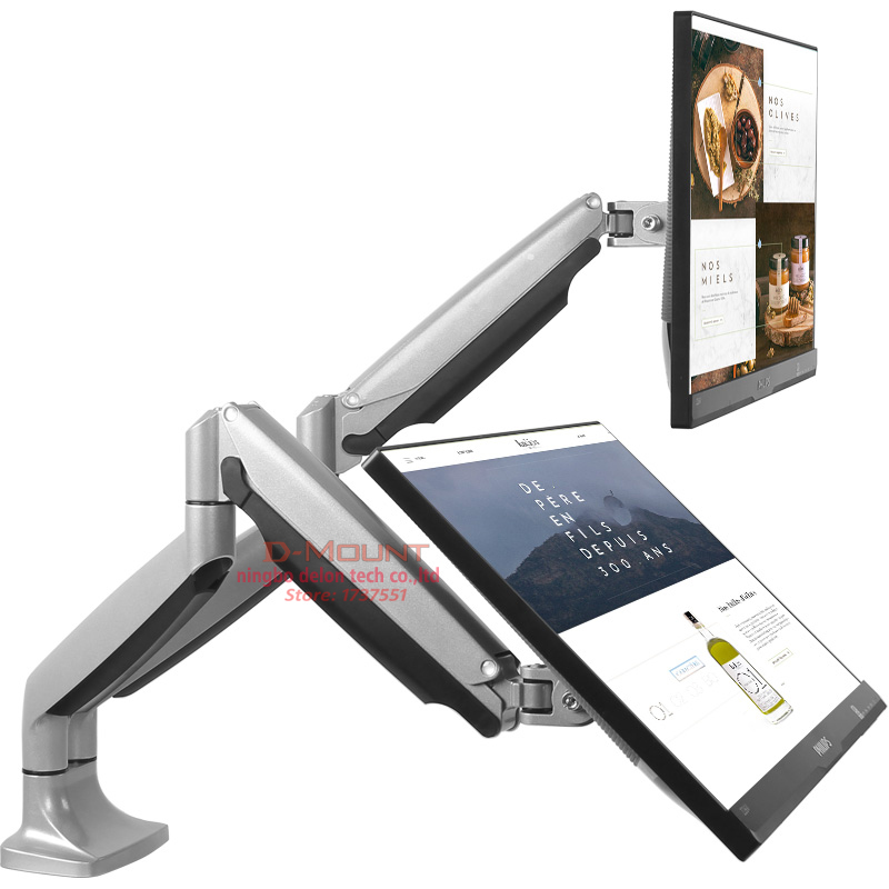 DL LDT10 Gas Spring Dual Monitor Holder Desktop Computer Mount Arm Stand Base With Audio and USB Port Fit 10~27 Max 9KG