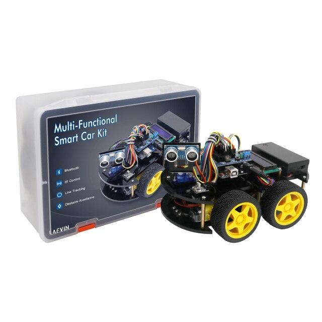 LAFVIN חכם רובוט רכב ערכת עם R3 לוח, קולי חיישן, Bluetooth מודול לarduino UNO