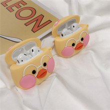 3D Cute Cartoon Duck Egg Case For Airpods 1/2 Soft Silicone Wireless Earphone Earpods Protective Cover with Hook