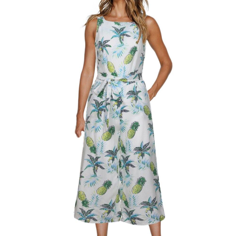 2019 Nieuwe Hot Fashion Vrouwen Mouwloze Bloemenprint Jumpsuit Ongedwongen Wijde Pijpen Broek Vakantie Outfits самские брюки Groothandel T3
