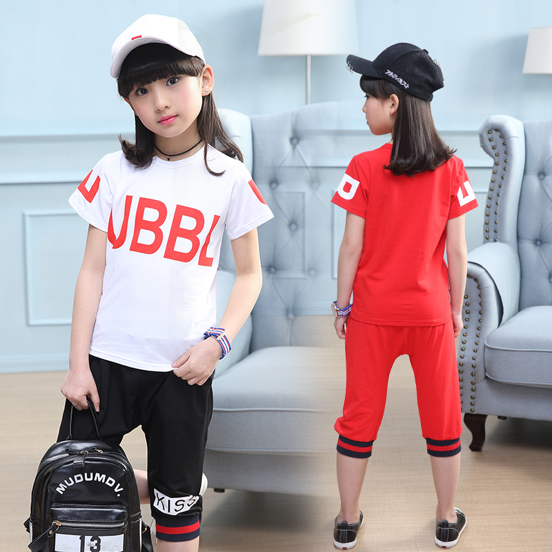 Meninas Roupas Crianças Manga Curta T-shirt + Calças 2 Pcs Terno Esportes Das Meninas Definir Crianças Roupas de Algodão Carta Impressão