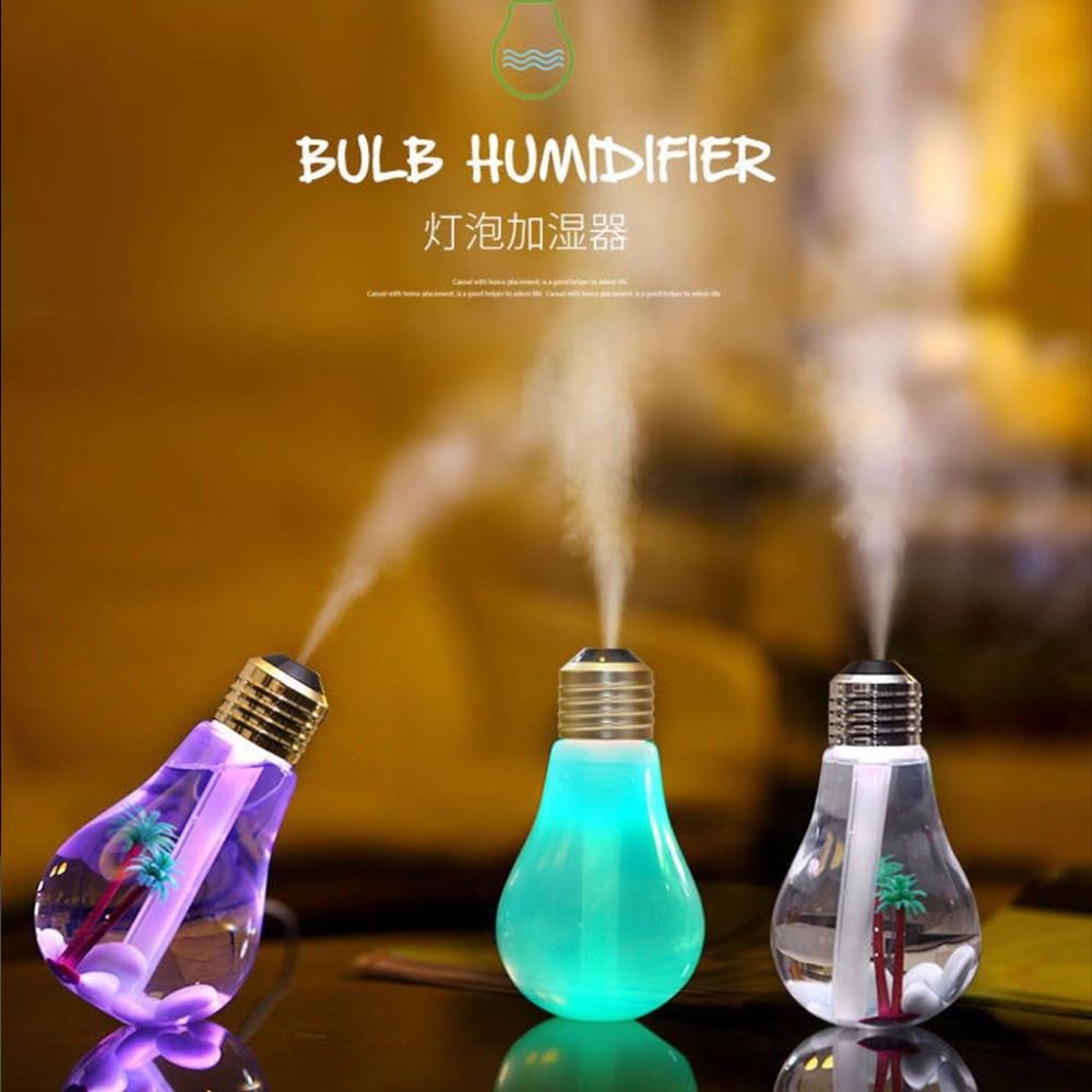 MEXI Light Bulb Shape Mini USB Ultrasonic Humidifier Air Purifier Vaporiser Home Car mini vase design car air purifier usb ultrasonic humidifier