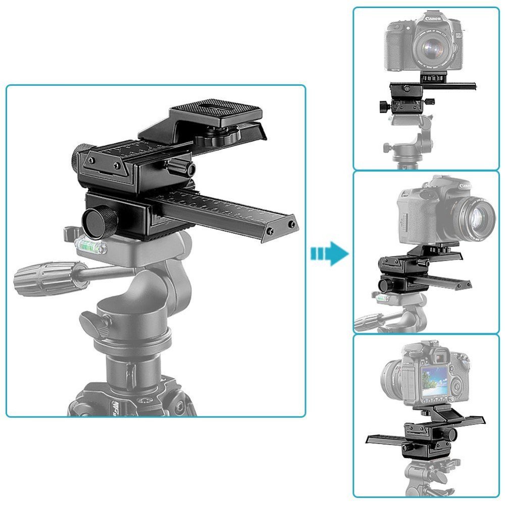 Neewer 4 Way Macro Focusing Focus Rail Slider/Close-up Shooting for Canon/Nikon etc SLR Camera+DC with Standard 1/4