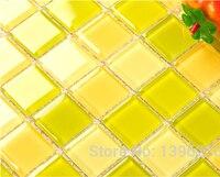 クリスタルガラス新緑イエロー3dモザイクbacksplashのタイル用キッチン浴室シャワーホーム壁カバーdiydecorステッカー