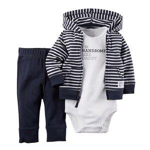 Image 3 - 2017 Baby Boys Clothes Sets Newborn Bodysuit Pant Jacket 3 pcs Suit Fashion Bebe Girl Clothing Children Sport Suit Cotton Outfit