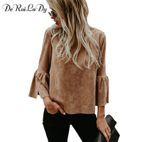 DeRuiLaDy Women Spring Summer Elegant Flare Sleeve Suede Blouse Shirt Three Quarter Sleeve Blouses Black White