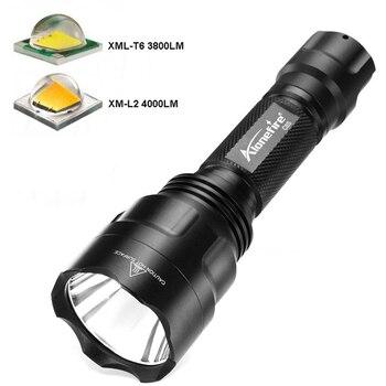 цена на CREE l2(L2)/t6(T6) hight power 4000 lumens 5 mode torch C8s led flashlight  lanterna light for camping without 18650 battery