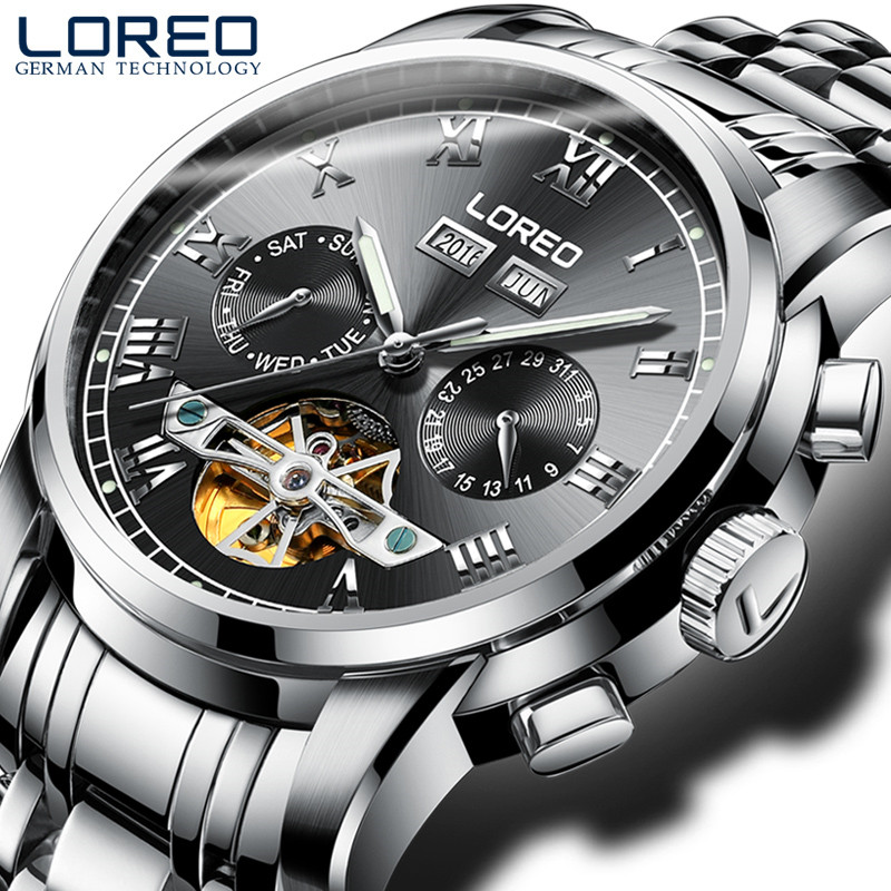 LOREO Luxury Watches Men Automatic self-wind Fashion Casual Male Sports Watch Mechanical Wristwatches Relogio masculino J90 loreo black genuine leather 200m diving military mechanical luxury men sports watches fashion automatic wristwatches male