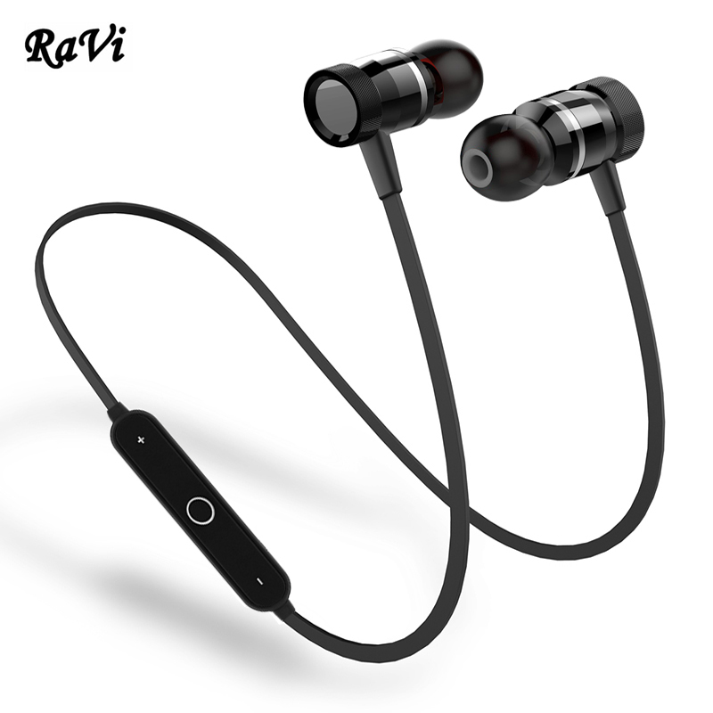 RAVI Wireless Bluetooth Earphone With Mic Sport Earbuds Headset Stereo Earphone Bluetooth V4.1 Earpiece Headphone fone de ouvido 5 pcs 3 flat pin plug black ac power socket adapter replacement 250v 10a