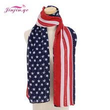 Jinjin.QC Women Scarf United States Flag Stars Lines Pattern Blue Red Stylish Fashion Excellent Quality Viscose Material Woman ктв excellent songs united states ktv