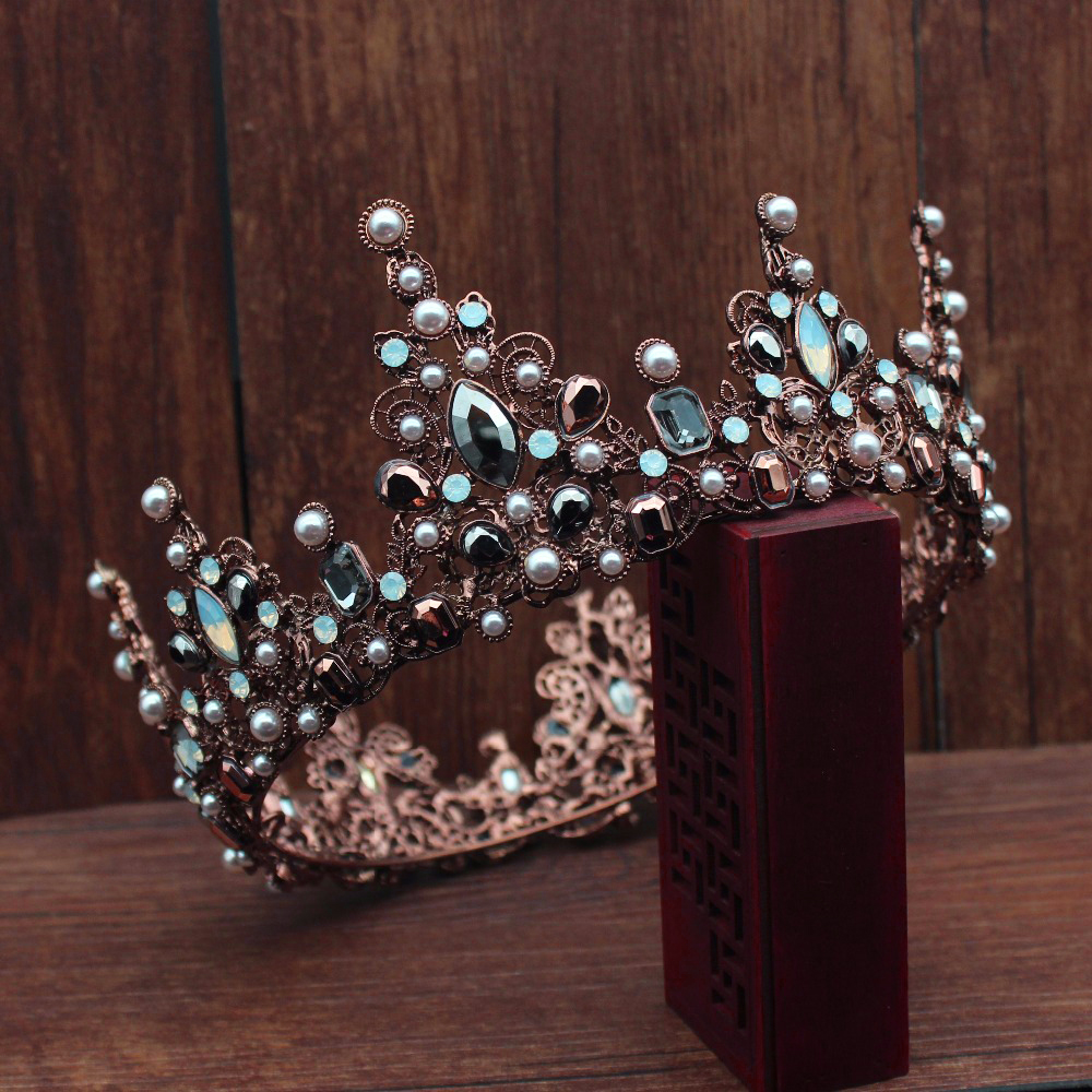 Vintage Baroque Ancient Copper Queen Bridal Tiara Crown Bride Women Prom Diadema Hair Ornaments Wedding Hair Jewelry Accessories black and coffee 2 colors hair tiara ancient chinese emperor or prince costume hair crown piece cosplay use for kids little boy