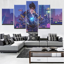 5 Pieces Landscape Architecture Painting Modern Home Decor Art HD Printed Overwatch Tracer Game Poster On Canvas For Living Room