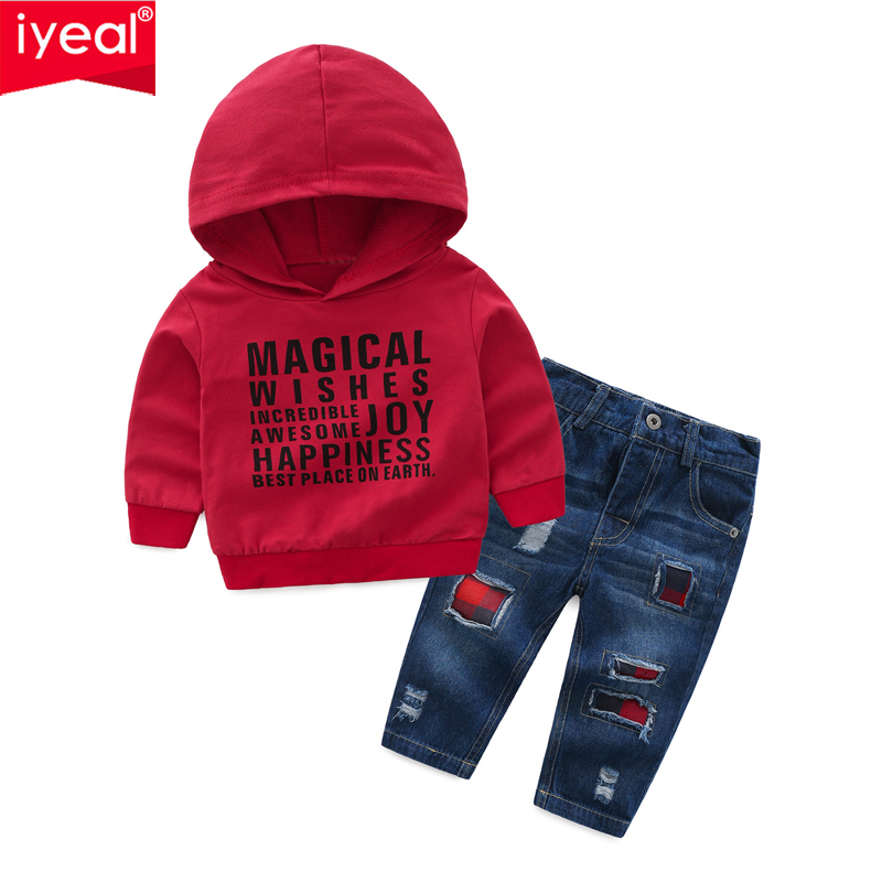 все цены на IYEAL Baby Boy Clothing Sets Kids Clothes Autumn Children Long Sleeve Print Letter Sports Suits Hoodies + Jeans Boys Clothes