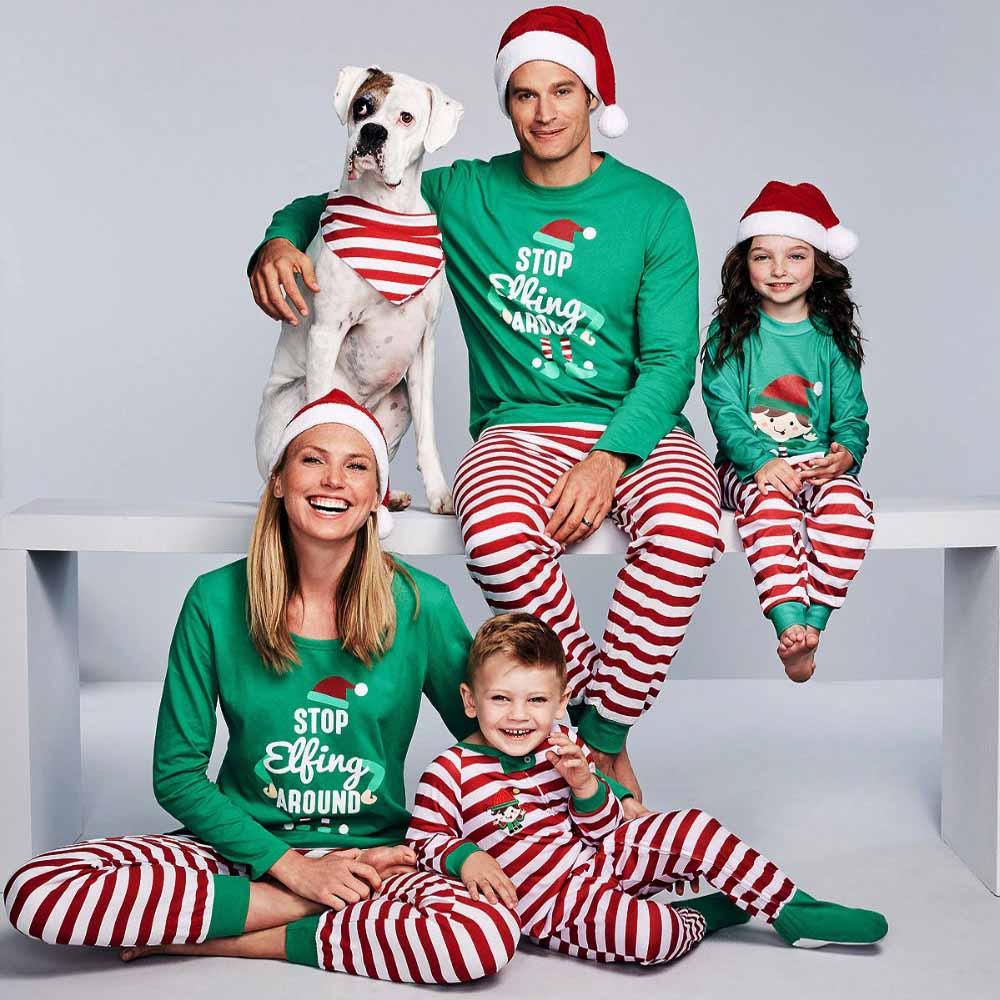 2019 Christmas Family Pajamas Set Family Matching Clothes Adult Kids Pajamas Set Baby Romper Xmas STOP Elfing Family Sleepwear
