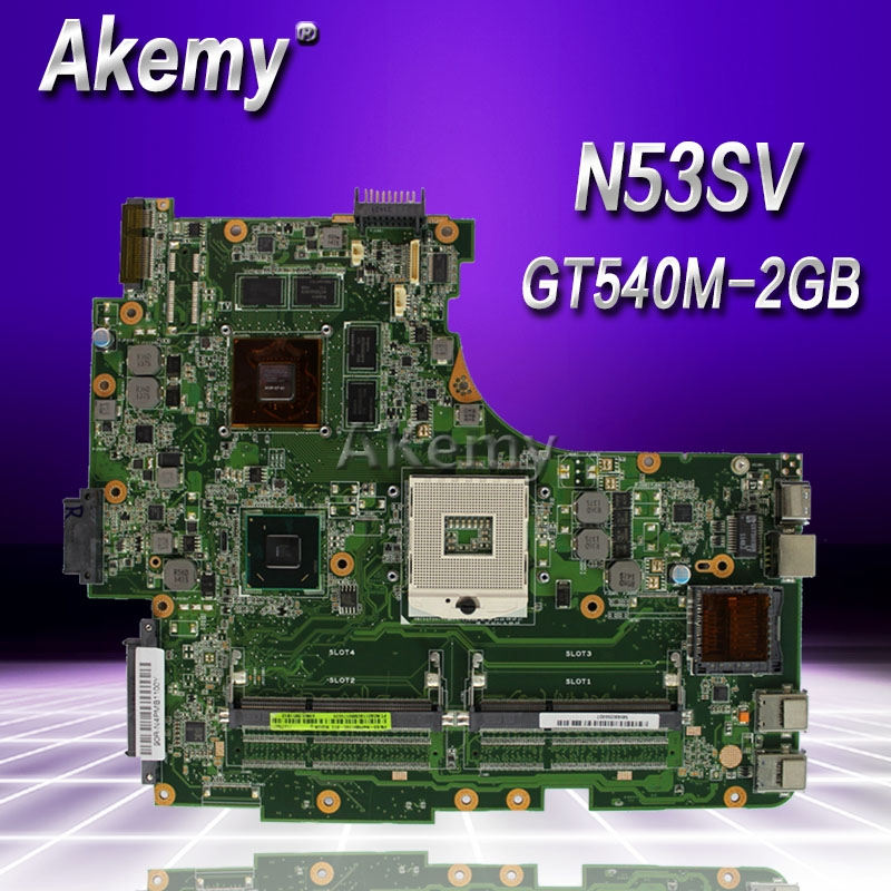 Akemy N53SV Laptop motherboard for ASUS N53SV N53SN N53SM N53S N53 Test original mainboard GT540M 2GB