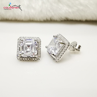 COLORFISH Luxury Asscher Cut 3 Carat Stud Earring Solid 925 Sterling Silver Jewelry Simulated Nscd Sona