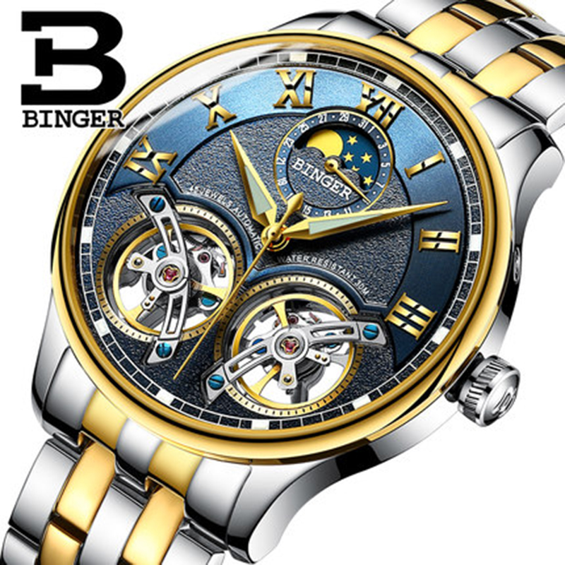 Genuine Luxury BINGER Brand Men Self-wind waterproof full steel automatic mechanical male Hollowe fashion Dual Tourbillon watch women favorite extravagant gold plated full steel wristwatch skeleton automatic mechanical self wind watch waterproof nw518