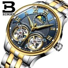 Oryginalna Luksusowe Marki BINGER Mężczyźni Własnym wiatr wodoodporny pełna stali nierdzewnej automatyczne mechaniczne mężczyzna Hollowe mody Podwójnego Tourbillon zegarek
