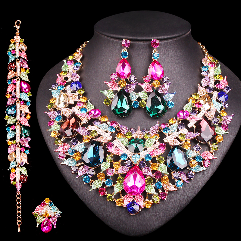 Gorgeous Indian Necklace Earrings Sets Crystal Jewellery Bridal Jewelry Sets Party Wedding Costume Accessories Gifts for Women
