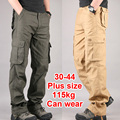 30 - 44 Plus size de alta qualidade dos homens de carga calça Casual homens calça Multi bolso militares globais para homens ao ar livre calças compridas