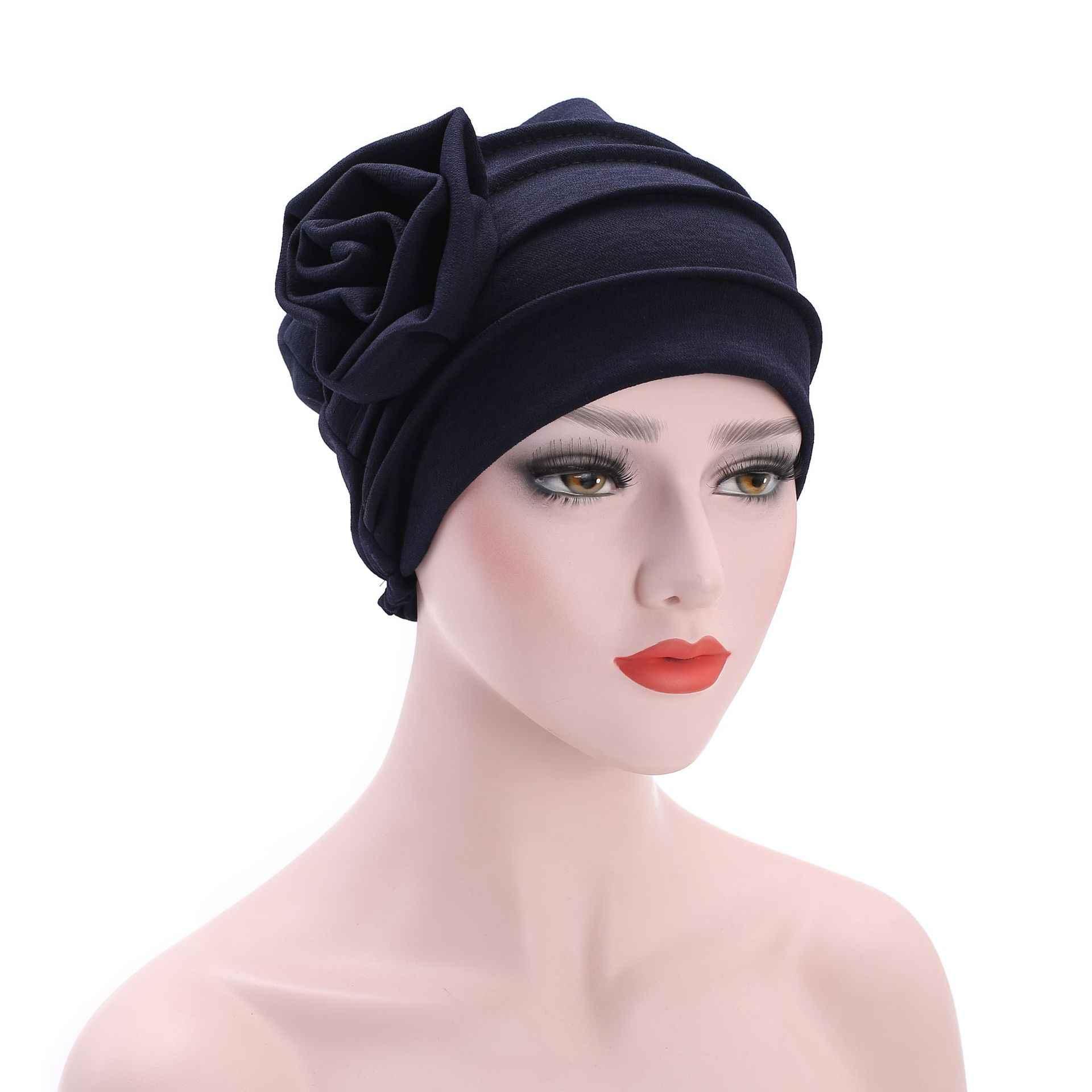 Helisopus Женская мода Большой цветок головной убор тюрбан мусульманская шляпа воздухопроницаемая Кепка леди выпадение волос аксессуары для волос