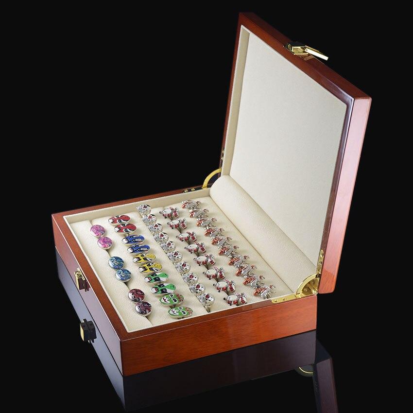 SAVOYSHI De Luxe boutons de Manchette Boîte-Cadeau de Haute Qualité Boîte En Bois Peint Authentique Taille 240*180*55mm Capacité Bijoux Boîte de rangement Ensemble