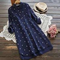 2019 Spring Women fashion Cotton blouse Fresh Japanese Style Printed Loose Casual Long Sleeve shirt tops