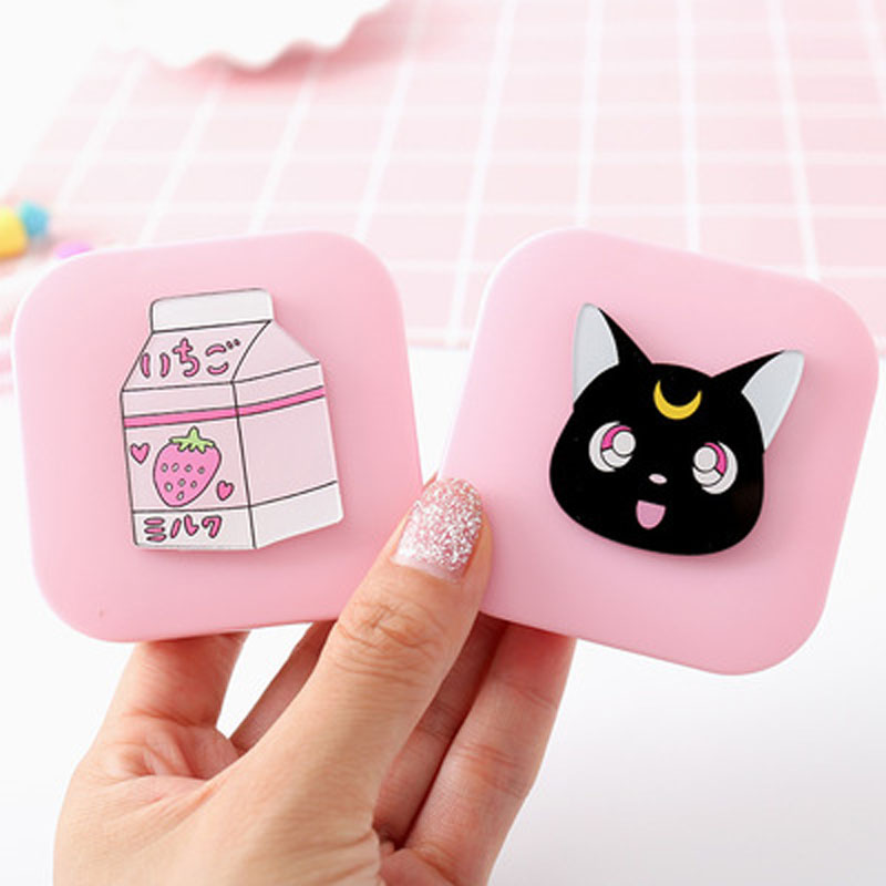 2019 Hot Sale Cute Candy Colored Contact Lens Case With Mirror Women Companion Box Eyes Cartoon Portable Lovely Travel Kit Box in Eyewear Accessories from Apparel Accessories