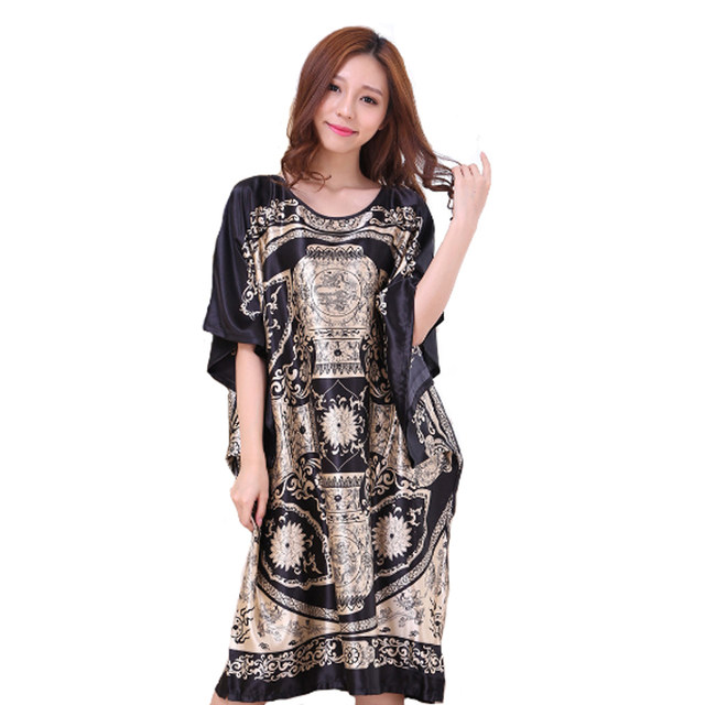 e3d3fe1bf35 Black Women s Summer Lounge Robe Lady New Sexy Home Dress Rayon Nightgown  Large Loose Sleepwear Bathrobe Gown