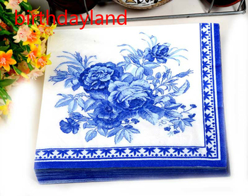 20pcs Abstract  blue flower pattern Napkin Paper Wood Tissue for Party Decoration Paper Crafts
