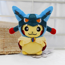 20cm Kawaii Pikachu Cosplay Lucario Peluche Toys Certoon Anime Plush Dolls Gift For Childrens Birthday Free Shipping