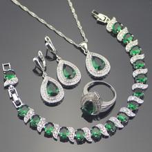 Drop 925 Sterling Silver Green Garnet White Topaz Jewelry Sets Bracelets/Earrings/Pendant/Necklace/Rings For Women Free Gift Box цена