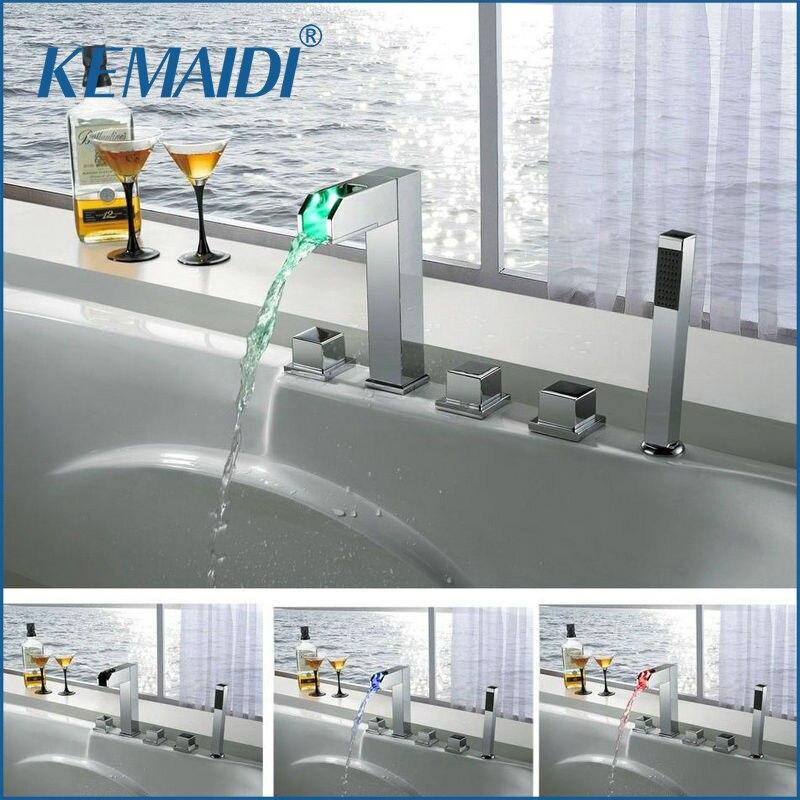 KEMAIDI robinet de baignoire ensemble de douche 5 trous brassmural LED cascade robinets mélangeurs & robinets LED mélangeur baignoire ensemble de robinet à LED