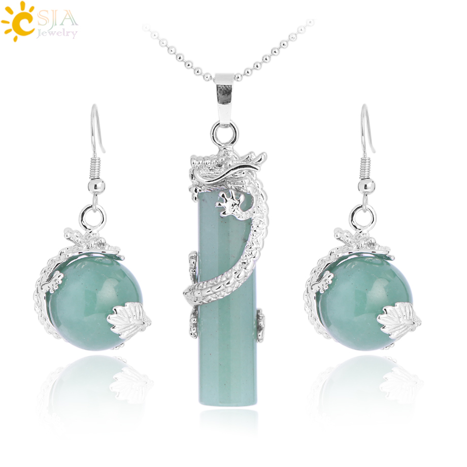 CSJA Natural Jewelry Set Crystal Round Stone Beads Drop Pendant Necklace Earrings Set Chain Opal Dragon Pendulum Party E390