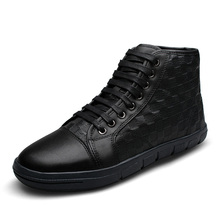 24cm-28.5cm Foot length Men Casual Shoes Warm cold autumn and winter boots Fashion high-top men's shoes Full Grain leather shoes