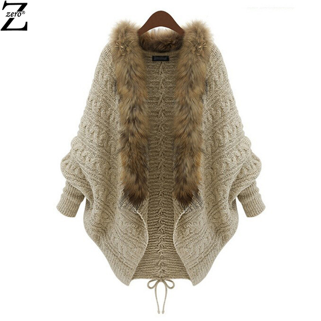 NEW !2015 Winter Cardigan Poncho Fur Collar Outerwear Women Sweater Knitted Brand Casual Knitwear Jacket caot NRJ-717A-1045