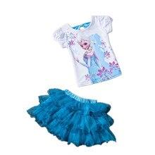 Children's clothing set 2017 Summer girls Princess Dress+Elsa T shirt sets kids clothes Kids Tracksuit Children Girls Clothing