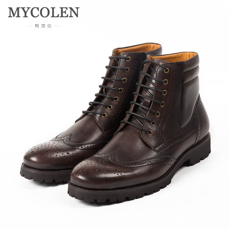 3811dbc075d MYCOLEN New Winter Boots Men Warm Shoes Luxury Brand Mens Luxury Handmade  Classic Antiskid Work Boot Casual Leather Shoes