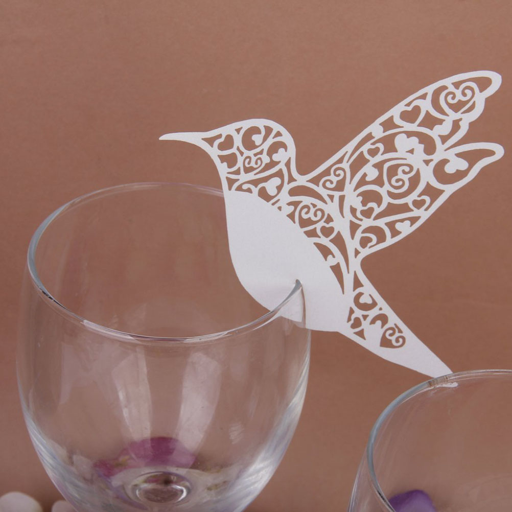 50 UNIDS Hollow Birds Estilo Place Name Card Invitaciones de Boda de Cristal Del