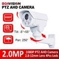 Speed PTZ AHD Camera 1080P 2.0MP 4X Zoom Lens 2.8-12mm IR 30m Pan Tilt Rotation Outdoor Bullet High Definition CCTV Camera