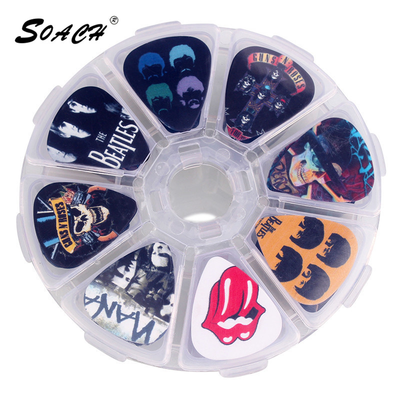 soach 10pcs 0 46mm guitar paddle blue background personality mixed pattern pvc double sided printing instrument accessories SOACH 50pcs Rock Band cartoon Guitar Picks box Mediator paddle + bass guitar Case Musical instrument accessories plucked tools