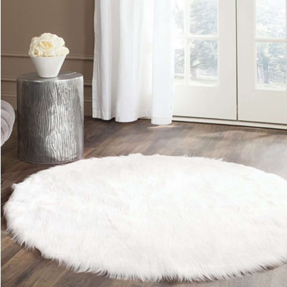 Round Real White Faux Sheepskin Rug Fur Blanket Decorative