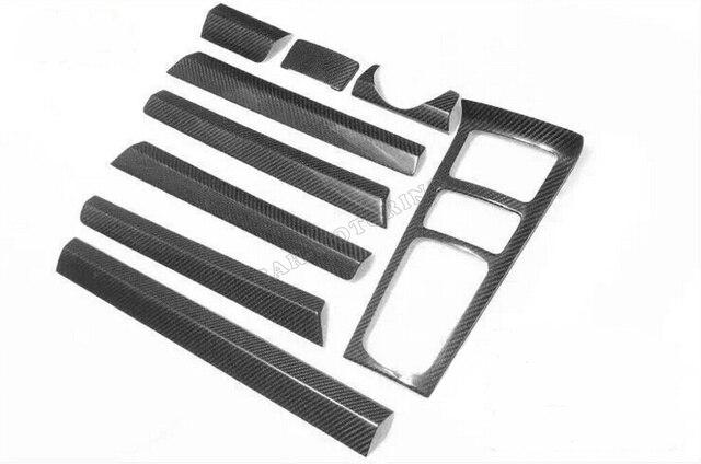 car-styling 9pcs/set carbon fiber interior dashboard decoration moulding trim for porsche cayenne LHD 2015 2016