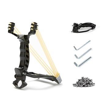 전문 slingshot 스테인레스 스틸 야외 사냥 슬링 샷 2 고무 밴드와 높은 속도 투석기 100 철강 공