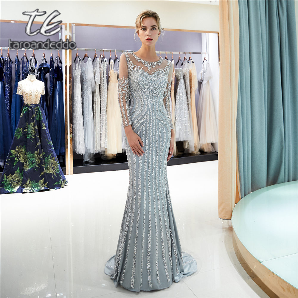 Scoop Mermaid Grey Tulle Prom Dresses Illusion Full Back Sweep Train Long Sleeves Evening Formal Party Dress